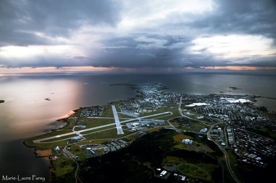 Beautiful Reykjavik Airport at Sunset