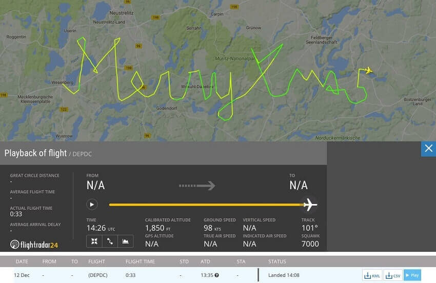 FlightRadar24 Xmas greetings